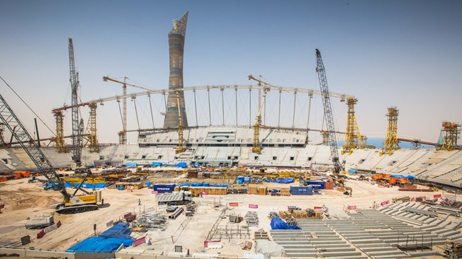 Khalifa International Stadium while it was under construction in Doha, Qatar.   Courtesy: FIFA