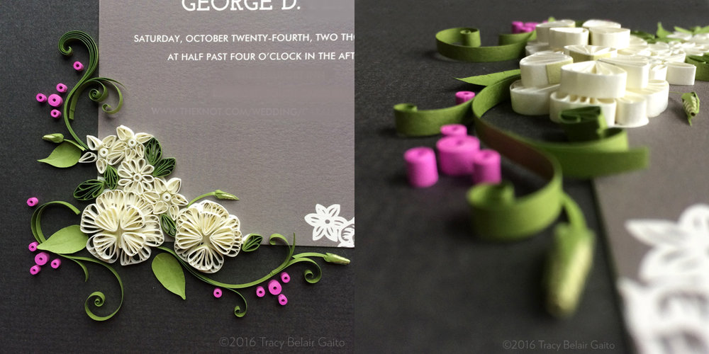 Quilling-Embellished Wedding Invitation - custom ordered gift for the couple