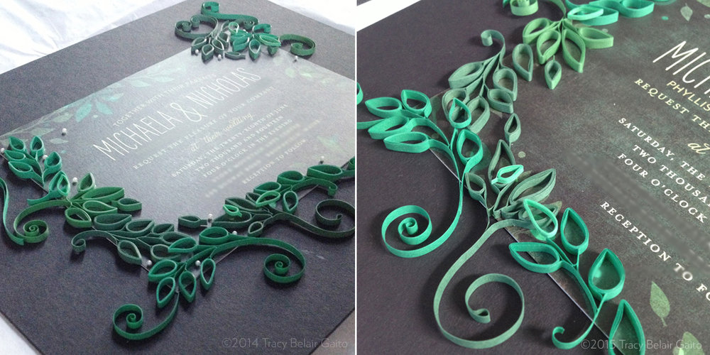 Paper Quilling-Embellished Wedding Invitation - custom made as a gift for the couple