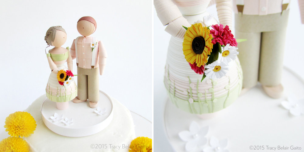 Paper Quilled Wedding Figurines - custom made as a gift for the couple