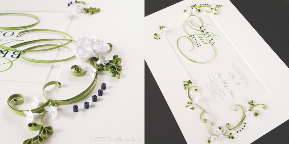 Paper Quilling-Embellished Wedding Invitation - custom ordered gift for the couple