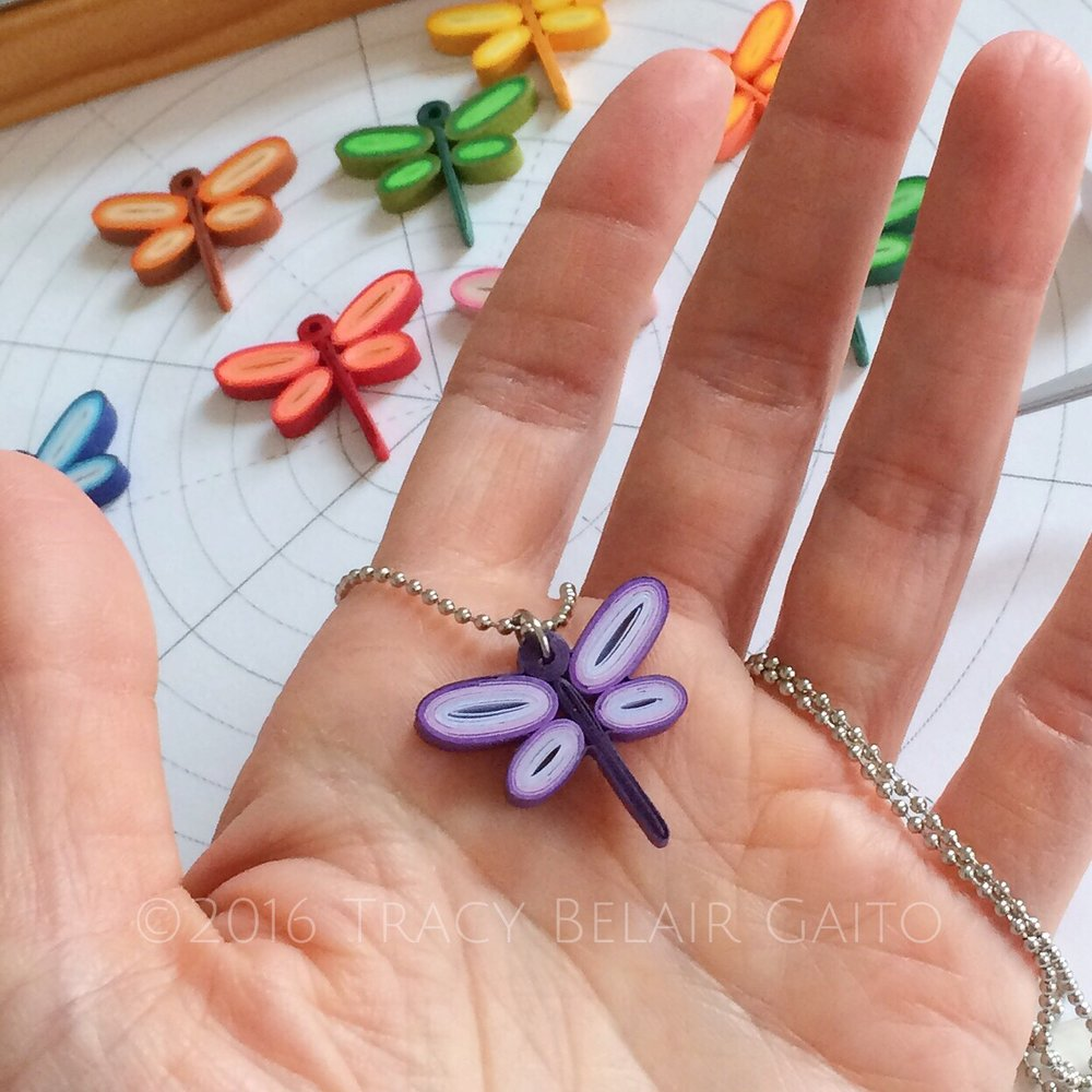 quilled paper art dragonfly pendant necklace by runnerbean paper art