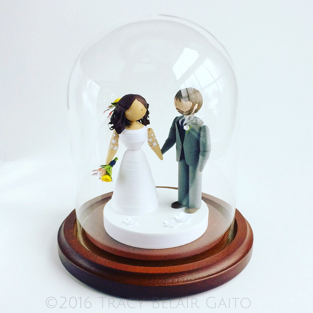 Wedding cake topper under glass by runnerbean paper art | www.runnerbeanarts.com