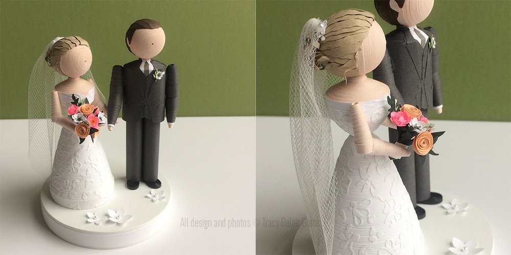 Cake Topper: Paper Quilled Wedding Figurines