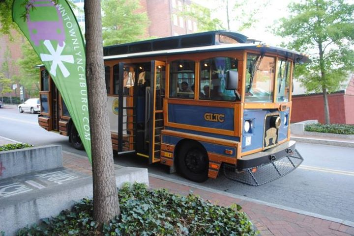 Every 30 minutes, the Lynchburg trolley makes a loop of popular First Friday attractions. Click on the map to view the stops in more detail.