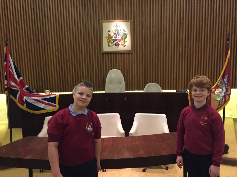The boys both talked about possible futures in politics after visiting the Mayor's chamber.