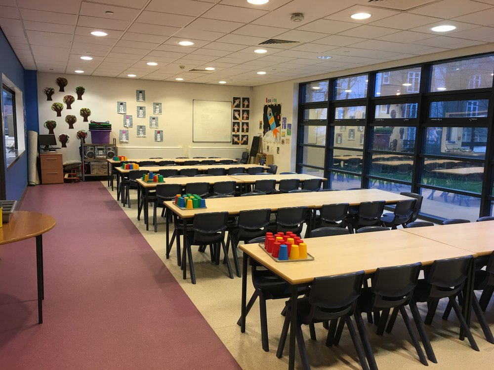 Our school dining room:  where the children eat their lunches. Our wrap around care also uses this space before and after school.