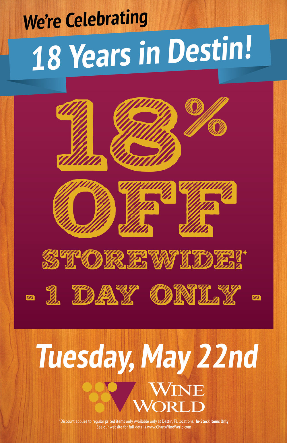 **VALID IN DESTIN LOCATION ONLY. 05/22/2018. In-stock, regularly priced items only. No rain checks. Cannot be combined with other offers or discounts. Glass of wine as part of a buy-one-get-one offer. Not valid without proof of retail purchase on 05/22/18. Some exclusions may apply.
