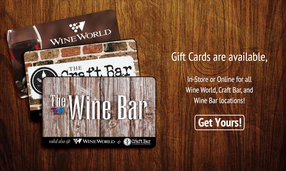 Our gift cards are like 3 gifts in 1 because they are redeemable in any of our retail stores, The Wine Bar, and The Craft Bar!  CLICK HERE  to order yours