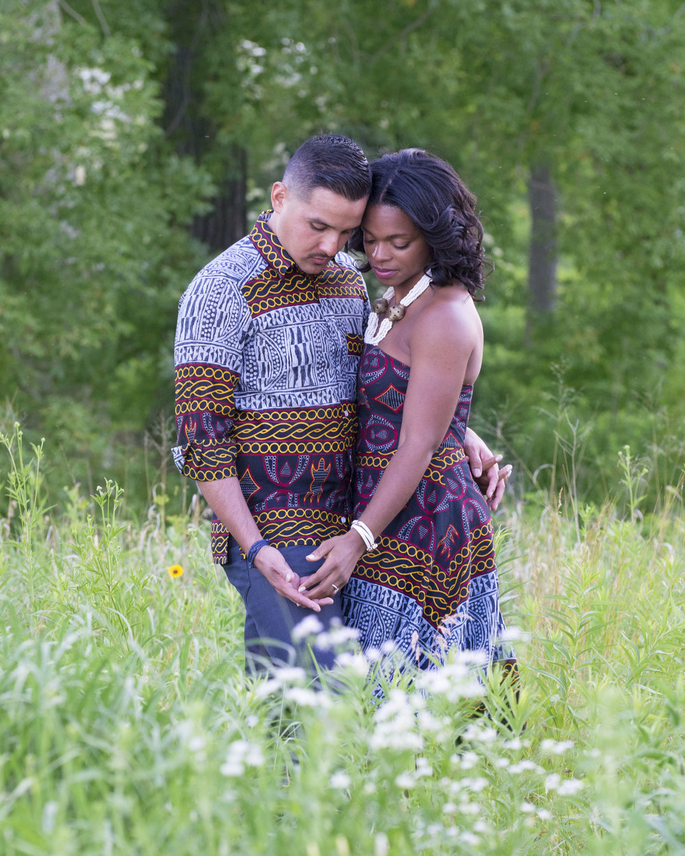 Chicago engagement photos wearing traditional attire from Cameroon