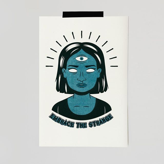 """Embrace The Strange"" Risograph available to purchase on my website! Click link in profile 🤓🤓"