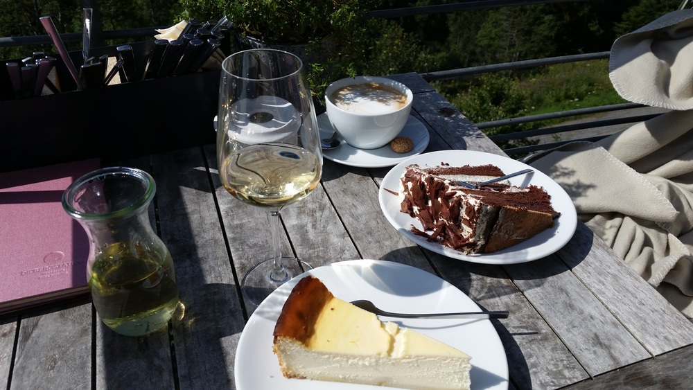 Black Forest Cherry Cake in THE Black Forest! Also, cheesecake and wine.