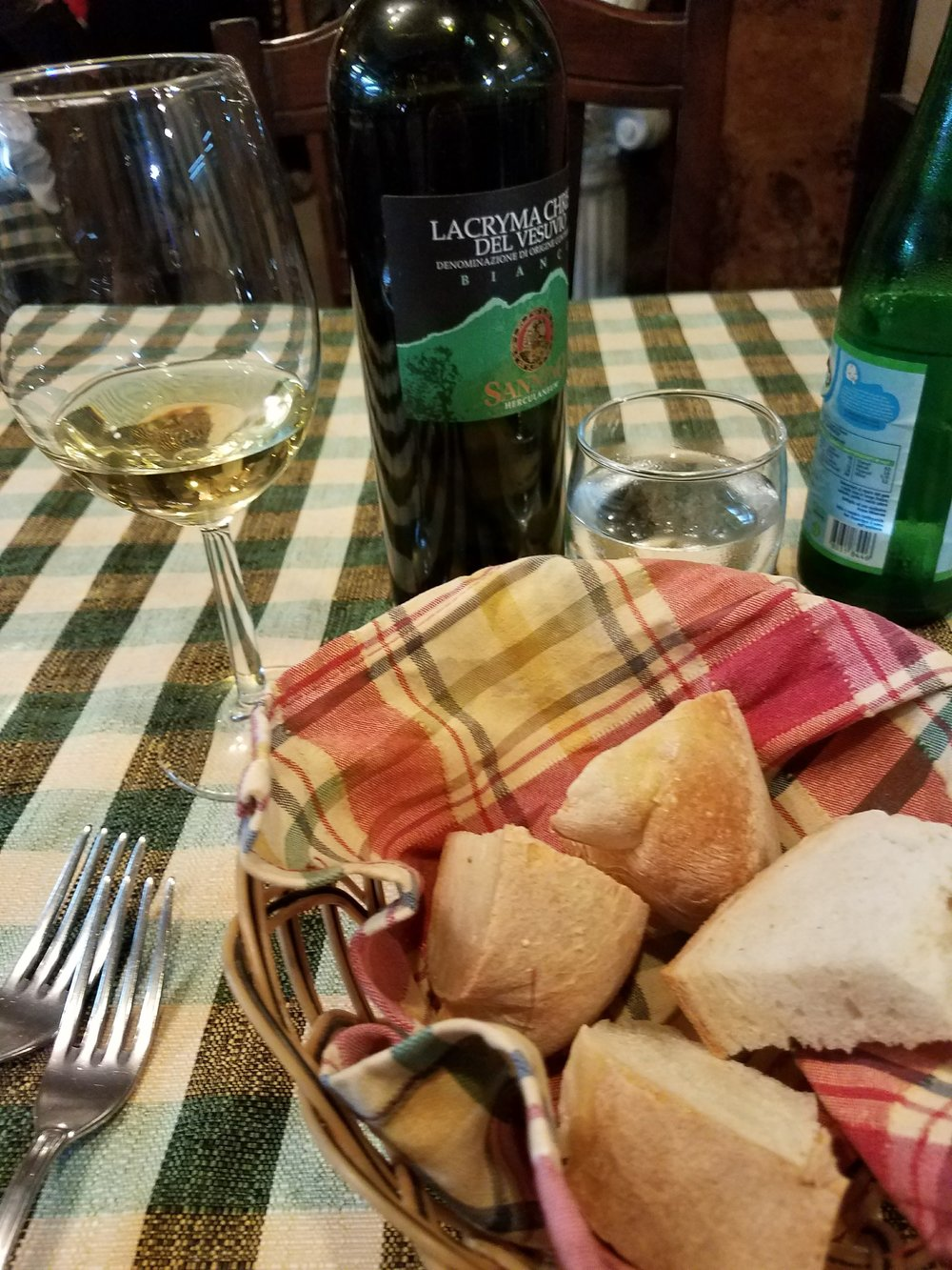 Okay food and wine, but excellent bread, in Naples, Italy