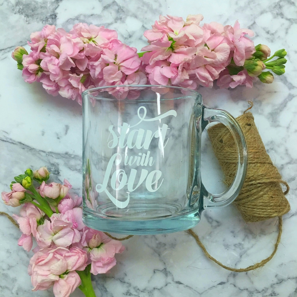 Start with Love Mug sold at the Love Letter Library