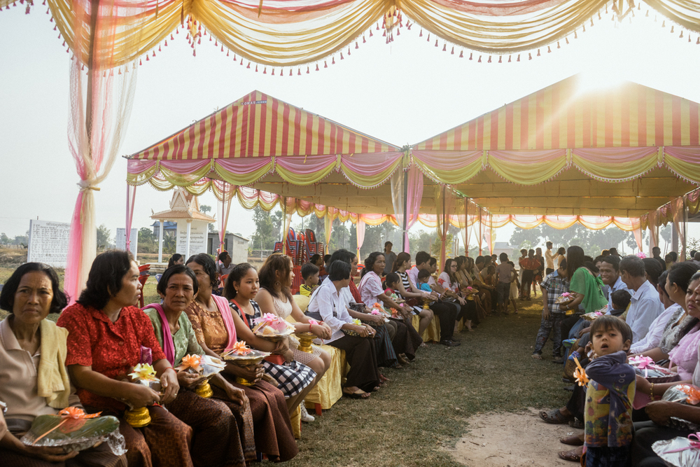 Guests at a ceremony held for victims of forced marriages by the Khmer Rouge. Several couples in a small commune have decided to have a formal wedding ceremony almost four decades after their forced marriage, a crime which is today being tried as a crime against humanity by a war crimes tribunal.