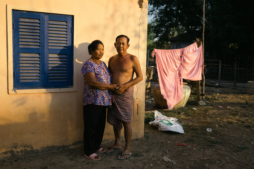 A portrait of groom Sok Hort and bride Yim Ran in their home a day before their wedding ceremony, held for victims of forced marriages by the Khmer Rouge. Several couples have decided to have a formal wedding ceremony almost four decades after their forced marriage, a crime which is today being tried as a crime against humanity by a war crimes tribunal.