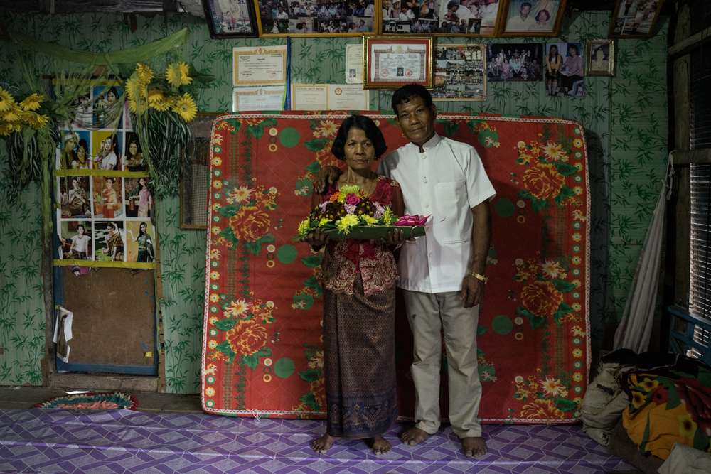 A portrait of groom Morb Heang and bride Nou Sout in their home a day before their wedding ceremony, held for victims of forced marriages by the Khmer Rouge. Several couples have decided to have a formal wedding ceremony almost four decades after their forced marriage, a crime which is today being tried as a crime against humanity by a war crimes tribunal.