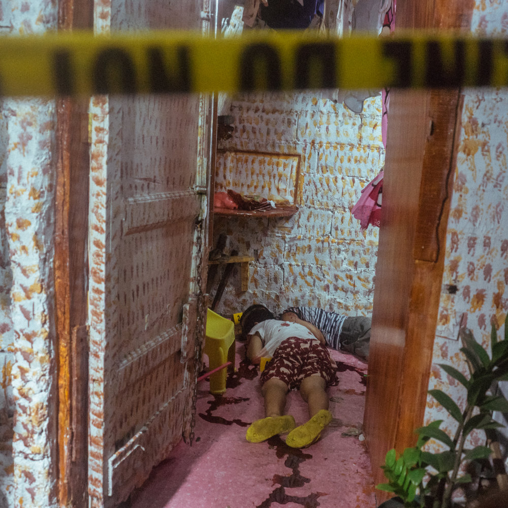 Bodies are found inside a home in Manila, Philippines. The police reports that the victims were drug users, and were killed as part of Rodrigo Duterte's campaign to rid the nation of drugs.