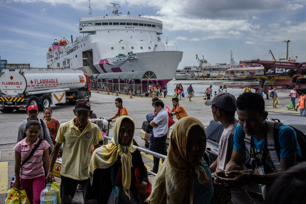 A boat arrives at the Manila port. Many girls on their way out of the province make their way through this port. The anti trafficking unit intercepts women who are minors from the boats, interviewing them and finding signs of trafficking.