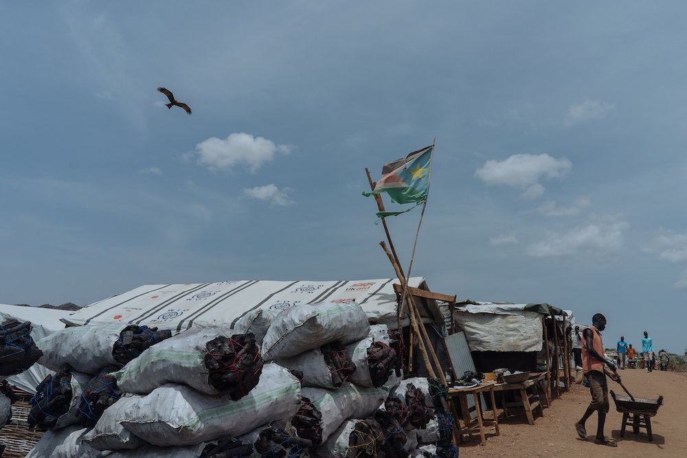 A South Sudanese flag flies in the Protection of Civilians site in Juba.