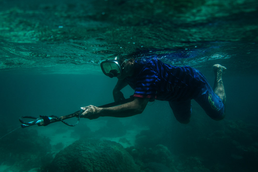 A spear fisherman hunts for fish in the waters of a marine protected area in Palawan, Philippines. Palawan is part of the Coral Triangle, the global centre of marine biodiversity, and a global priority for conservation. Over 120 million people live in the Coral Triangle, relying on it for their shelter, sustenance, and livelihood.