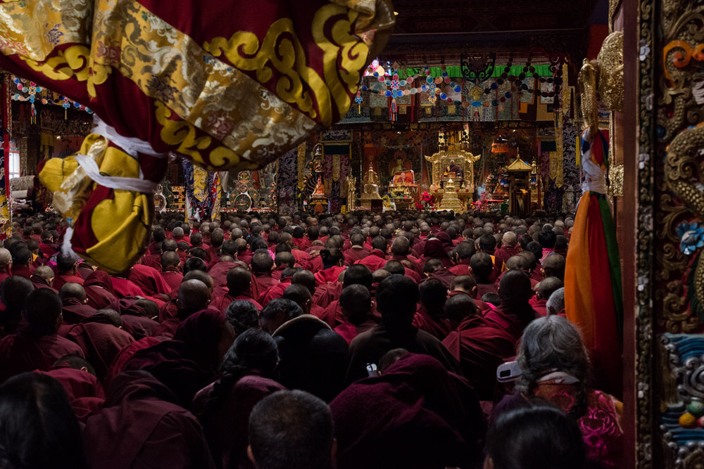 Monks gather for a glimpse of the Live Buddha