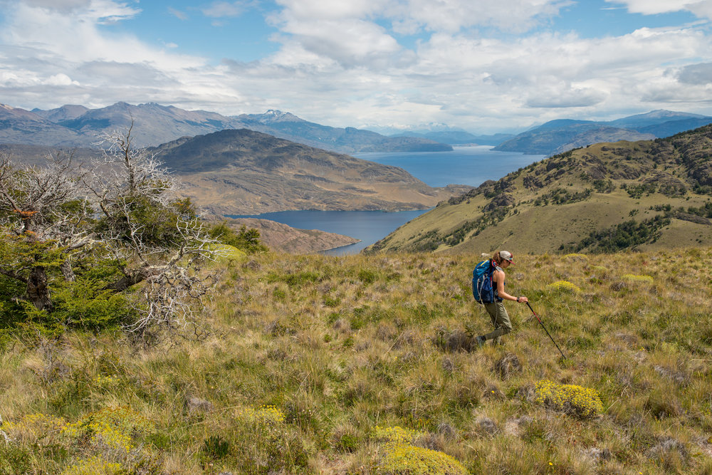 Walking in the Lago Chico region of Patagonia National Park. Photo: Gabe DeWitt