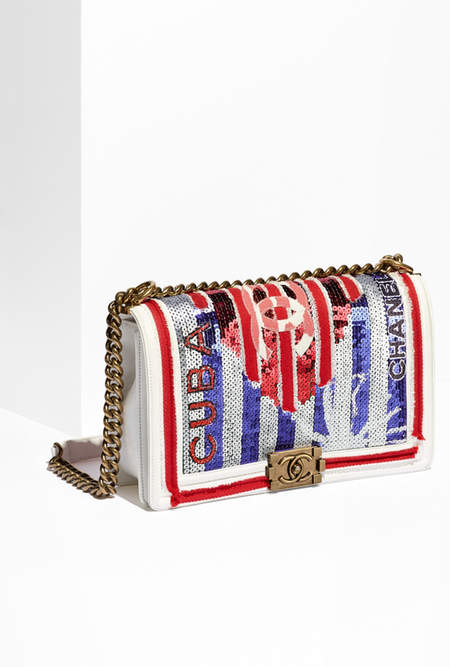 Boy Chanel Flap Bag Canvas, Sequins & Gold Metal White, Blue & Red 6.9 X 11 X 3 IN (CM) US$5,500.00