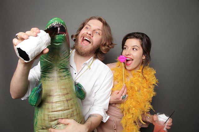 Wedding at the always fabulous Phoenix Art Museum. The photo booth was the perfect fit for this fun group. Planned perfectly by Kayla @somelikeitclassic. #graybackdrop #museum #artmuseum #museumwedding #slic #artwedding #phxart #dinosaur #photobooth⠀ #photoboothwedding #photoboothprops #customprops⠀ #portable #elegant #laugh #propmaster #backdrop #creativeliving #partyfavors #weddingideas⠀ #quality #amazing #4x6 #bestphoto #openairphotobooth⠀ #strikeapose #afterparty #partyideas #dinosaurs #beertime