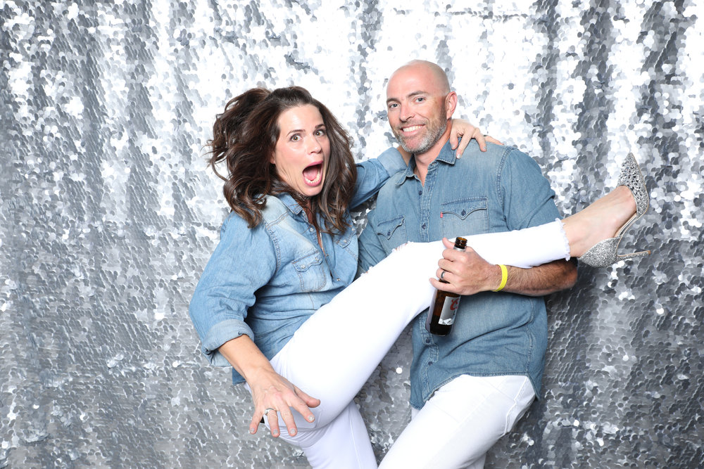 Photo Booth with Silver Sequin Backdrop