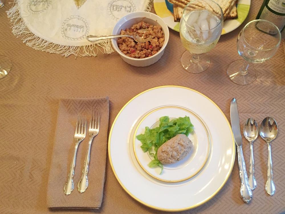 Passover starter: gefilte fish.