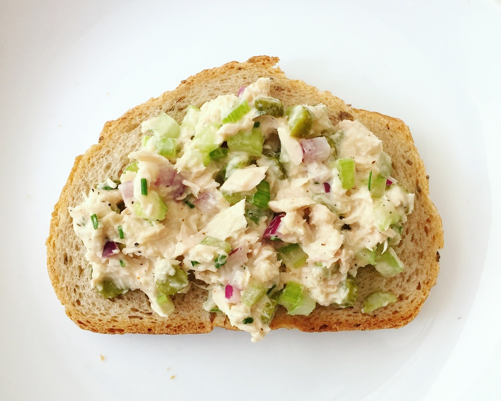 Tuna salad on organic Jewish rye from Whole Foods.