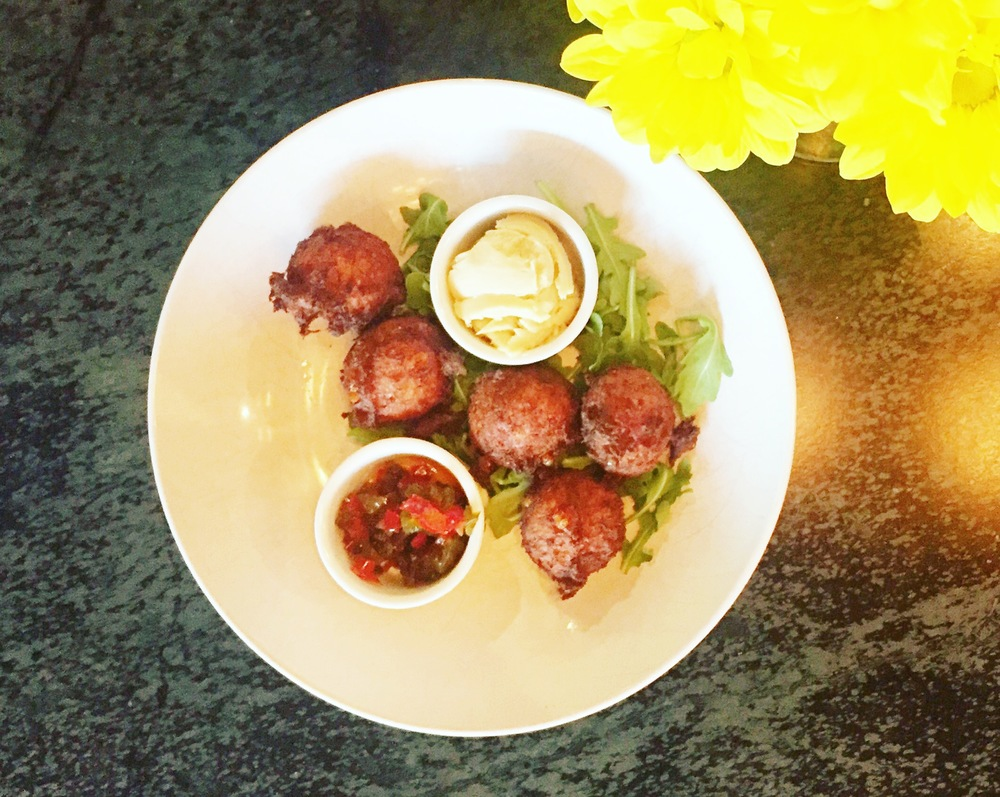 Crab Corn Fritters @ Reid's Fine Food   Sorghum butter and pepper jelly.