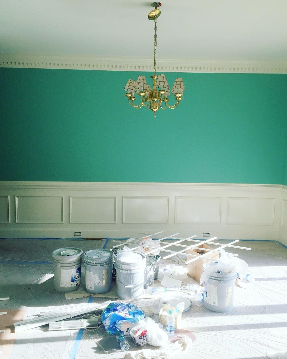 Dining room getting a fresh coat of sea foam green.