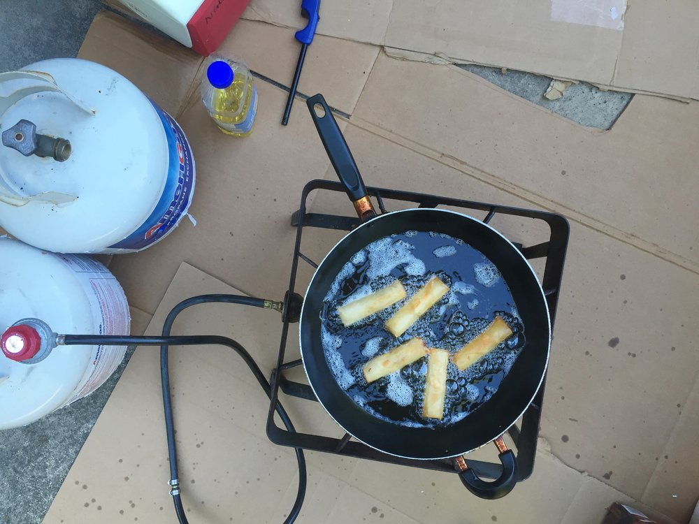 Spring Roll Frying Operation