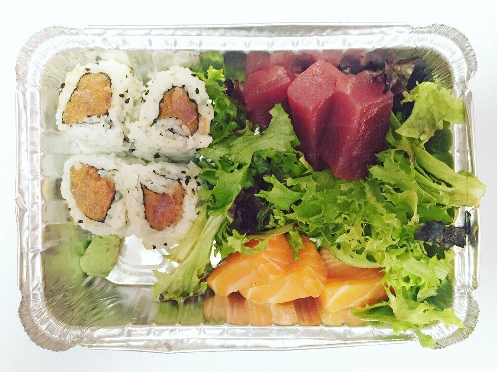 Spicy Tuna Roll + Tuna Sashimi + Salmon Sashimi |  Bonsai Fusion  |  7th Street Market