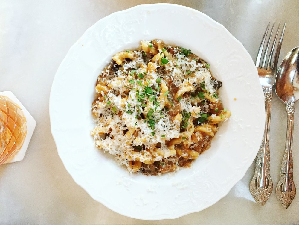Strozzapreti: eggplant, country ham, chiles en adobo, vanilla bean. | Kindred