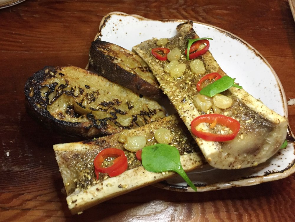Bone Marrow  I Pickled raisins, fresno, dukkah, and grilled bread.