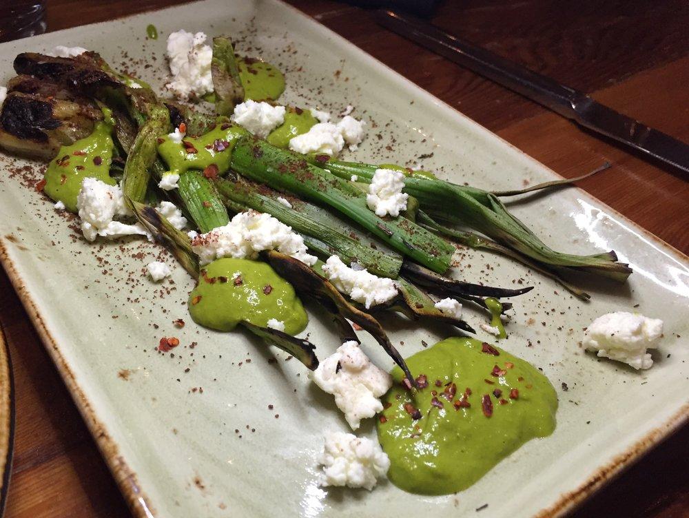 Charred Spring Onion  | herbed tahini, sumac, aleppo, feta