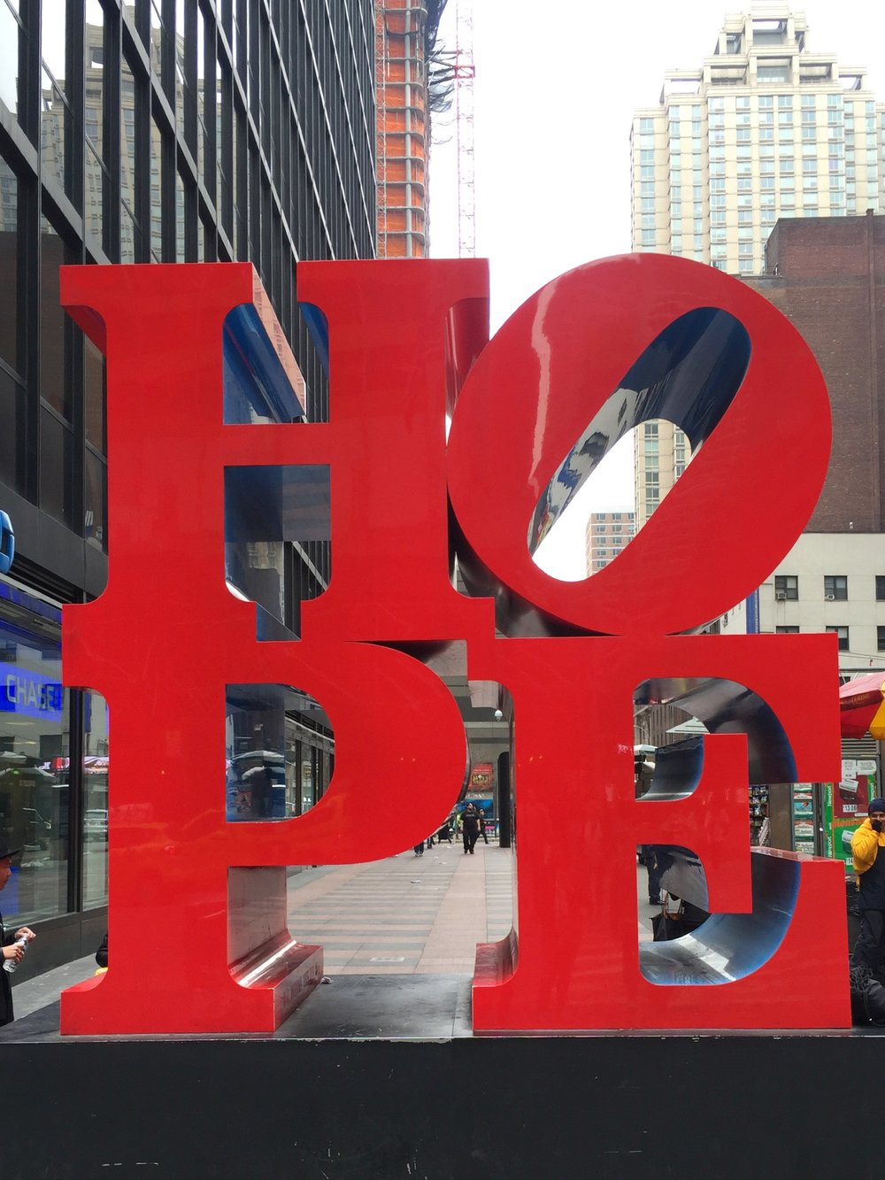 We found  HOPE  on the corner of 7th Ave. and 53rd St.