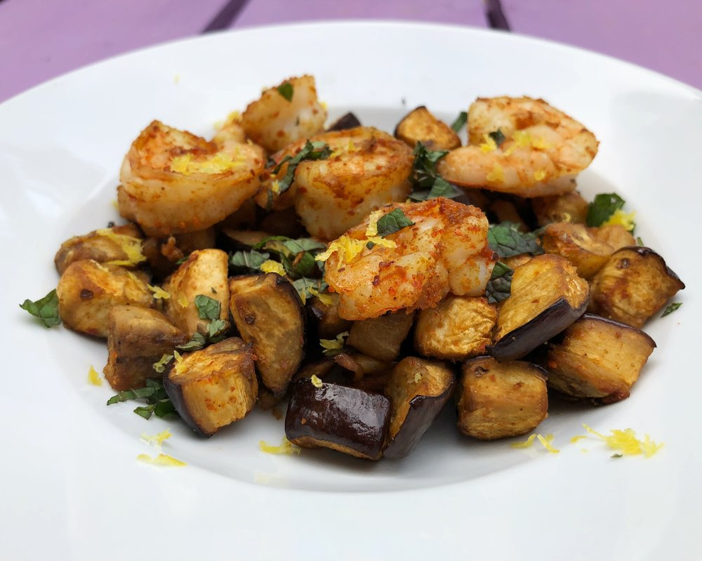 dinner-changing-the-game-page-131-spicy-roasted-shrimp-with-eggplant-and-mint