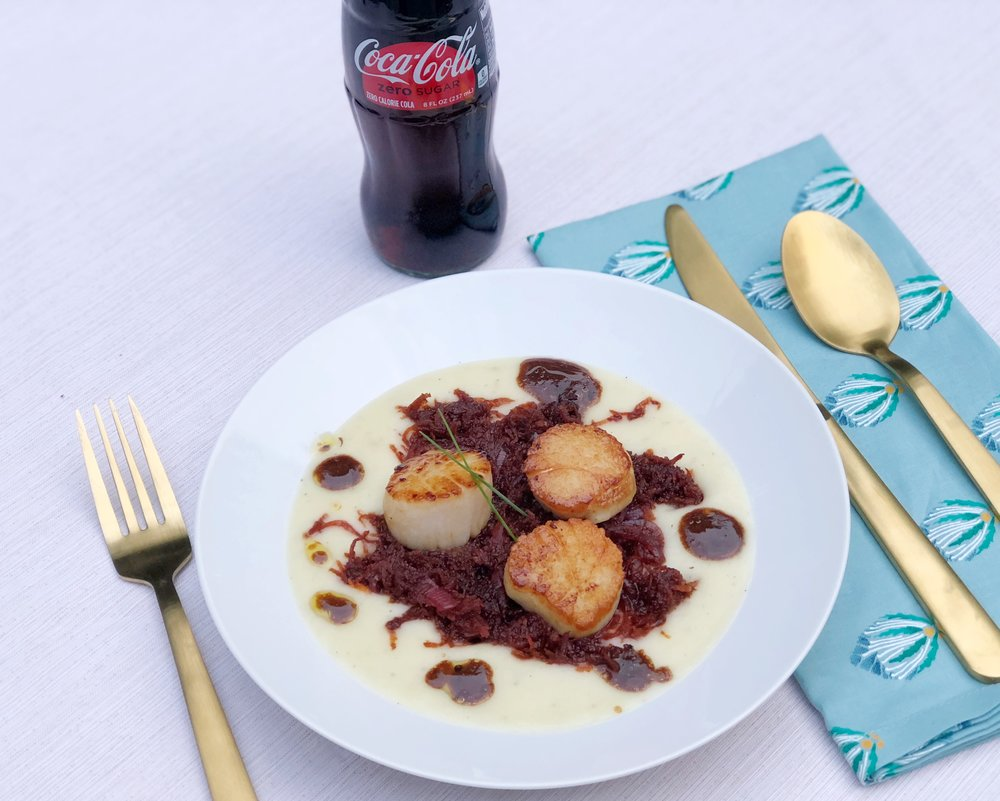 Soul-Food-Sessions-Tour-Seared-Scallops-with-Purple-Carrot-Chutney-coca-cola-zero-sugar