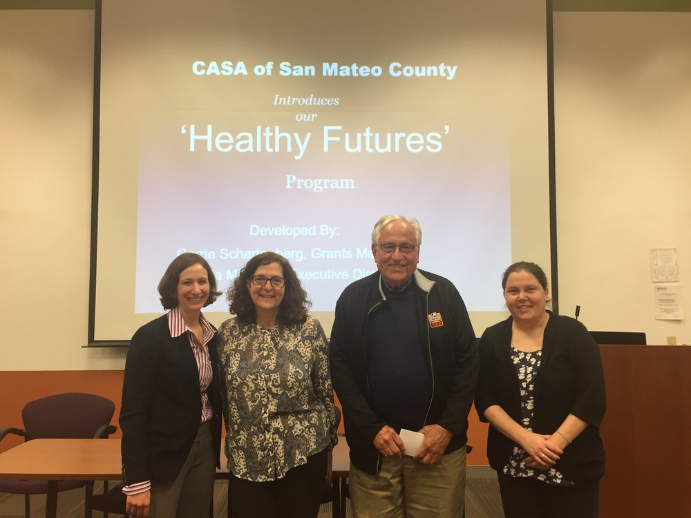 (Pictured from left to right: Dr. Tricia Tayama, Medical Director, Keller Center for Family Violence Intervention; Dr. Janet Chaikind, Director of Pediatrc, San Mateo Medical Center; Dr. Harvey Kaplan, CASA of SMC Board Member; and Lori Sterling, Public Health Nurse, San Mateo County)