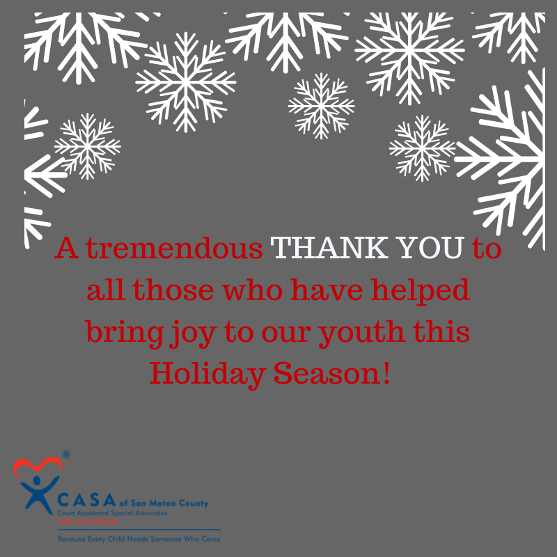Thank You and Happy Holidays from CASA of San Mateo County!