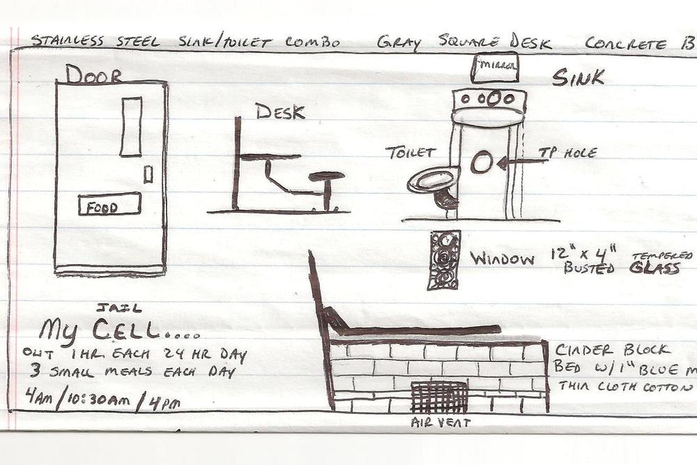 Bill's drawing of his solitary confinement cell.