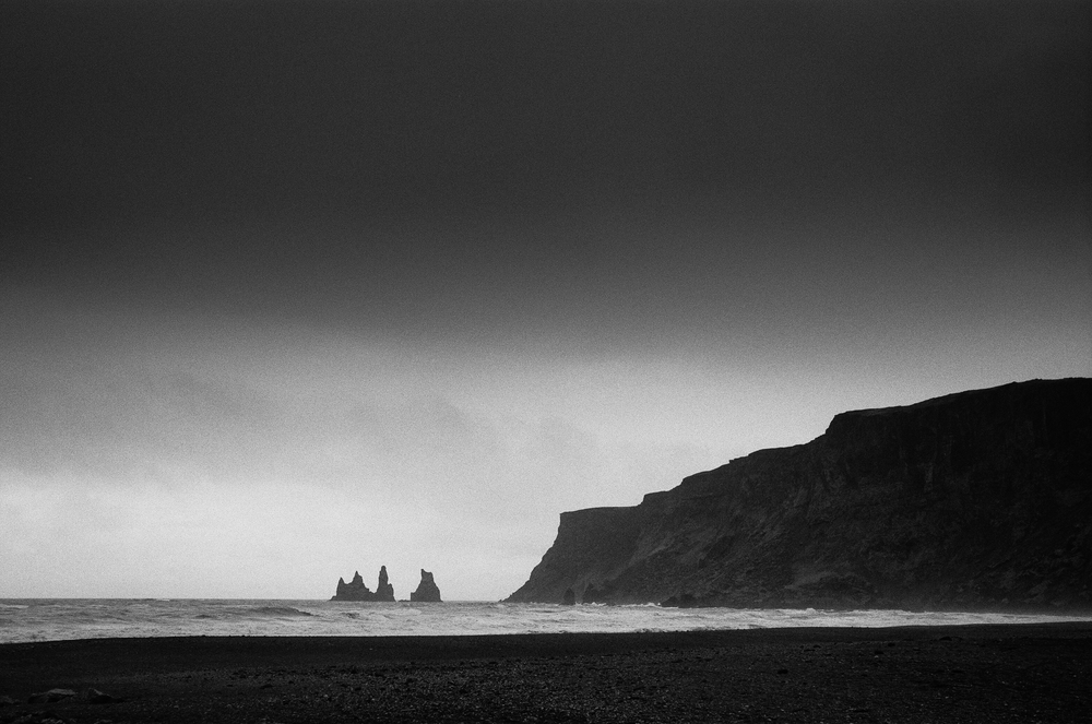Rock Formations, Vik, Iceland. Ilford HP5+ (copyright 2015 Jon Reaves Photography)