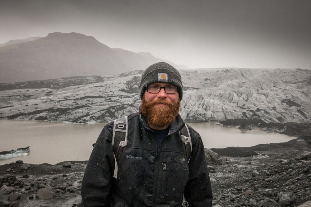 Jon covered in sleet at the foot of Solheim Glacier in Iceland, 2015.