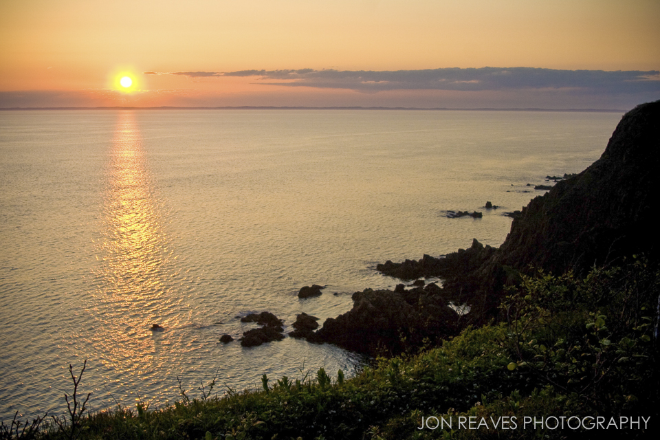 High cliffs and sunset at Southwest Head, Grand Manan