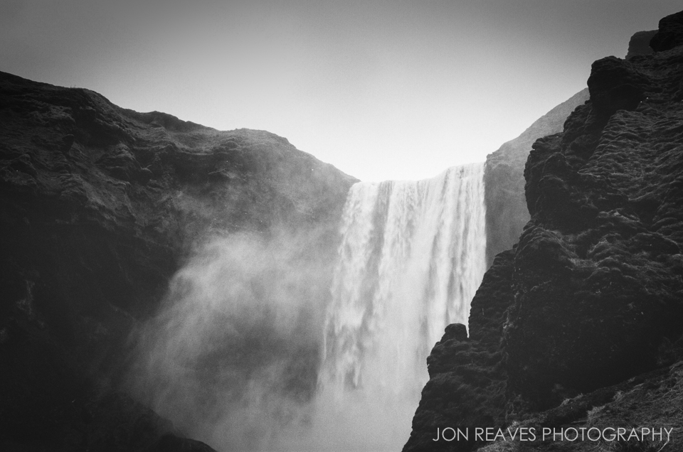 Skogafoss and moss covered cliffs. Ilford HP5+