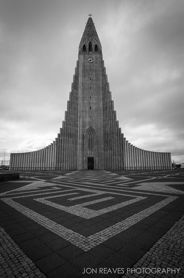 Hallgrimskirkja, Reykjavik. Kodak Ektar 100 (converted to black and white in Lightroom)